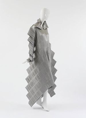 ISSEY MIYAKE::Dress Descending a Staircase :  constructed eveningwear 1995 silver