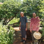 Part-time gardeners Ted Pender and Enrique Mendez. Photograph by Barbara Bell, a volunteer in the Gardens.