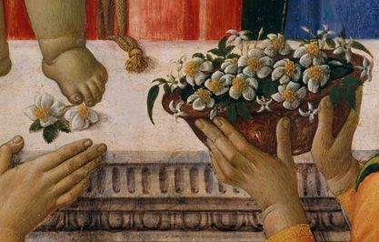 Detail of a basket of roses and jasmine offered to the Madonna and Child.