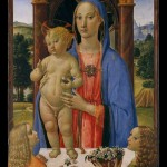 Angels offer a basket of jasmine and roses to the Virgin and Child.