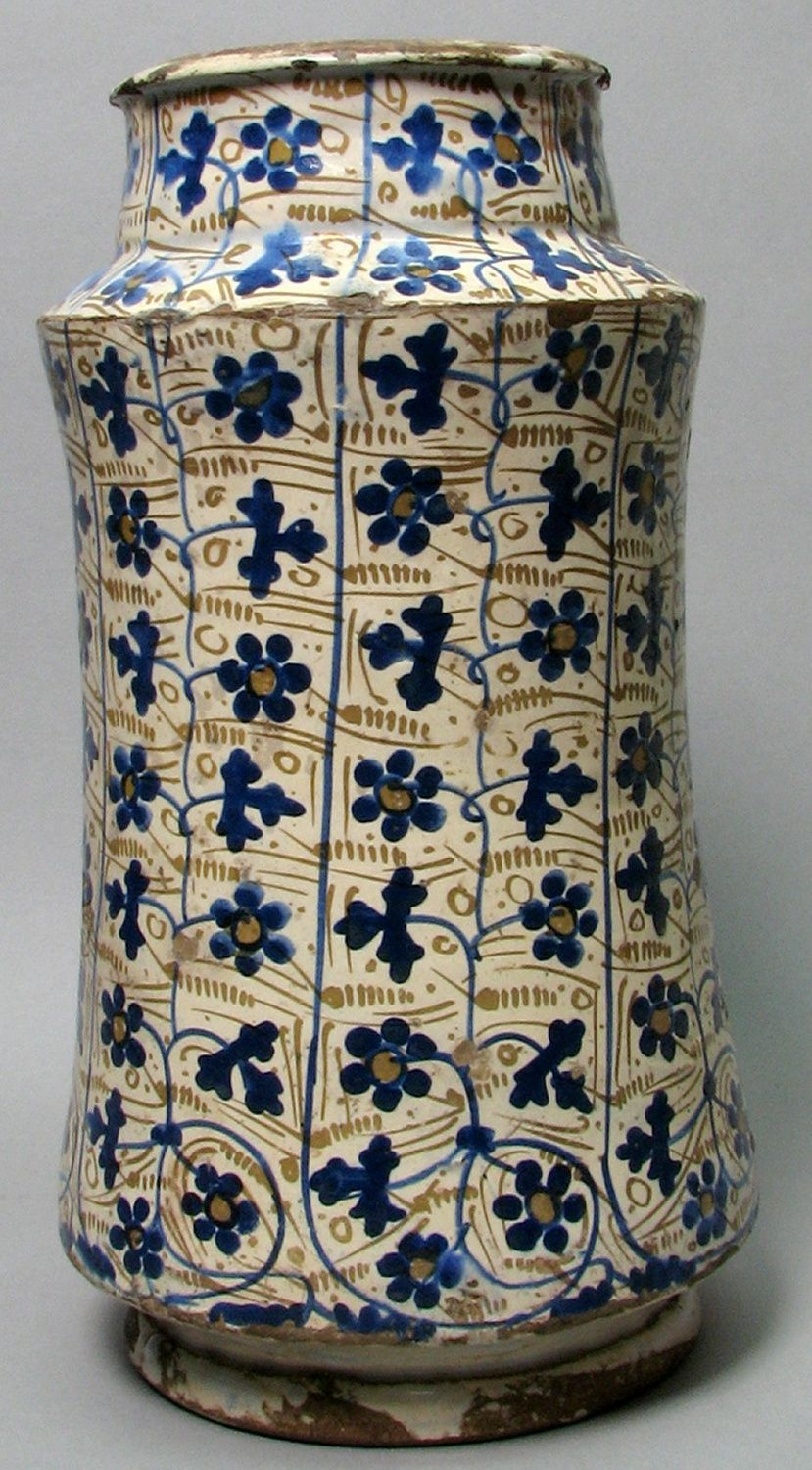 A lusterware albarello or pharmacy jar patterned with stylized bryony vines