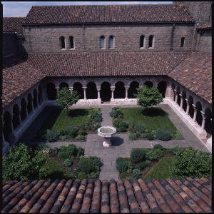 the lawn at cuxa cloister the medieval garden enclosed