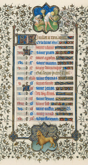 July page from the <em>Belles Heures</em>
