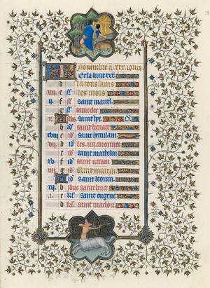 November calendar page from the Belles Heures