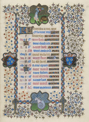 December calendar page from the Belles Heures