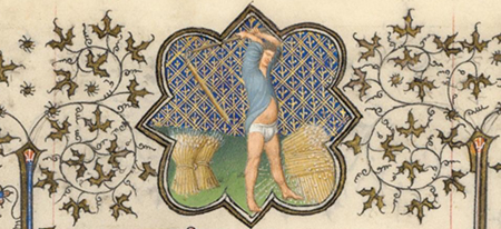Detail of August Calendar Page from the Belles Heures