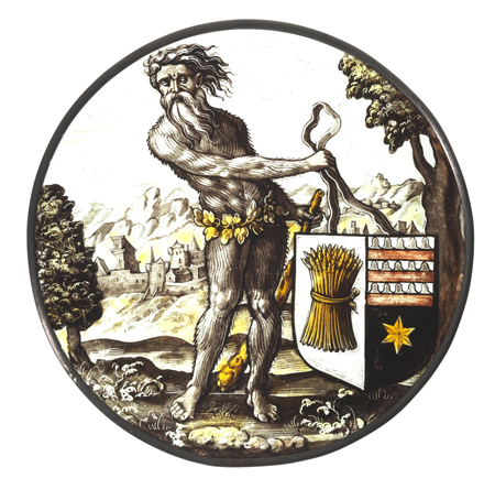 Roundel with Wild Man Supporting an Heraldic Shield