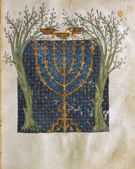 Olive Trees Flanking Menorah