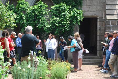 Deirdre Larkin in Bonnefont herb garden