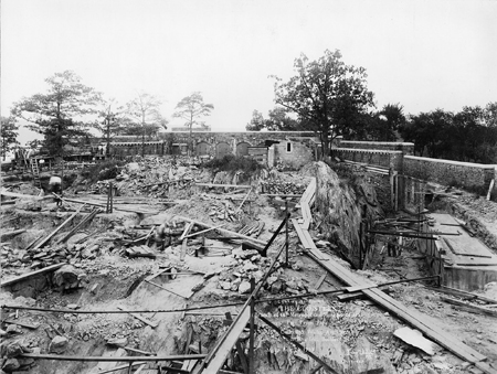 Construction photograph of the courtyard and ramparts