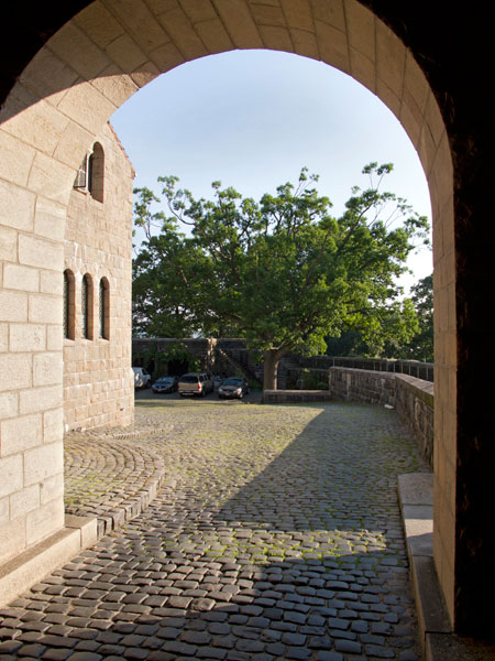 The courtyard, as seen from the portcullis gate entrance in 2012