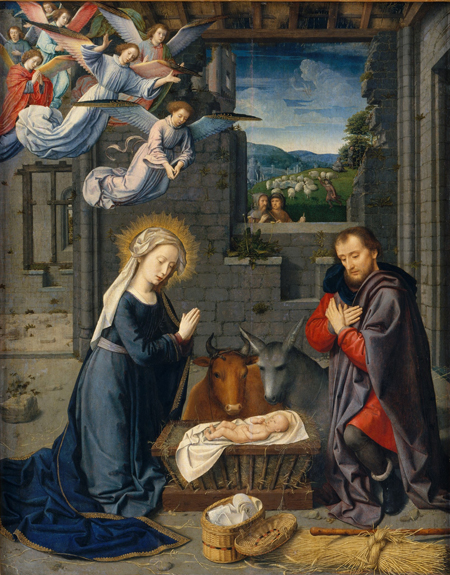 Detail from The Nativity with Donors and Saints Jerome and Leonard