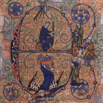 Initial E with Judgment of Solomon and Windmill