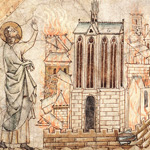 Saint Eligius Saves the Basilica of Saint-Martial in Paris from Fire; Saint Eligius Cures a Crippled Man at the Tomb of Saint Denis