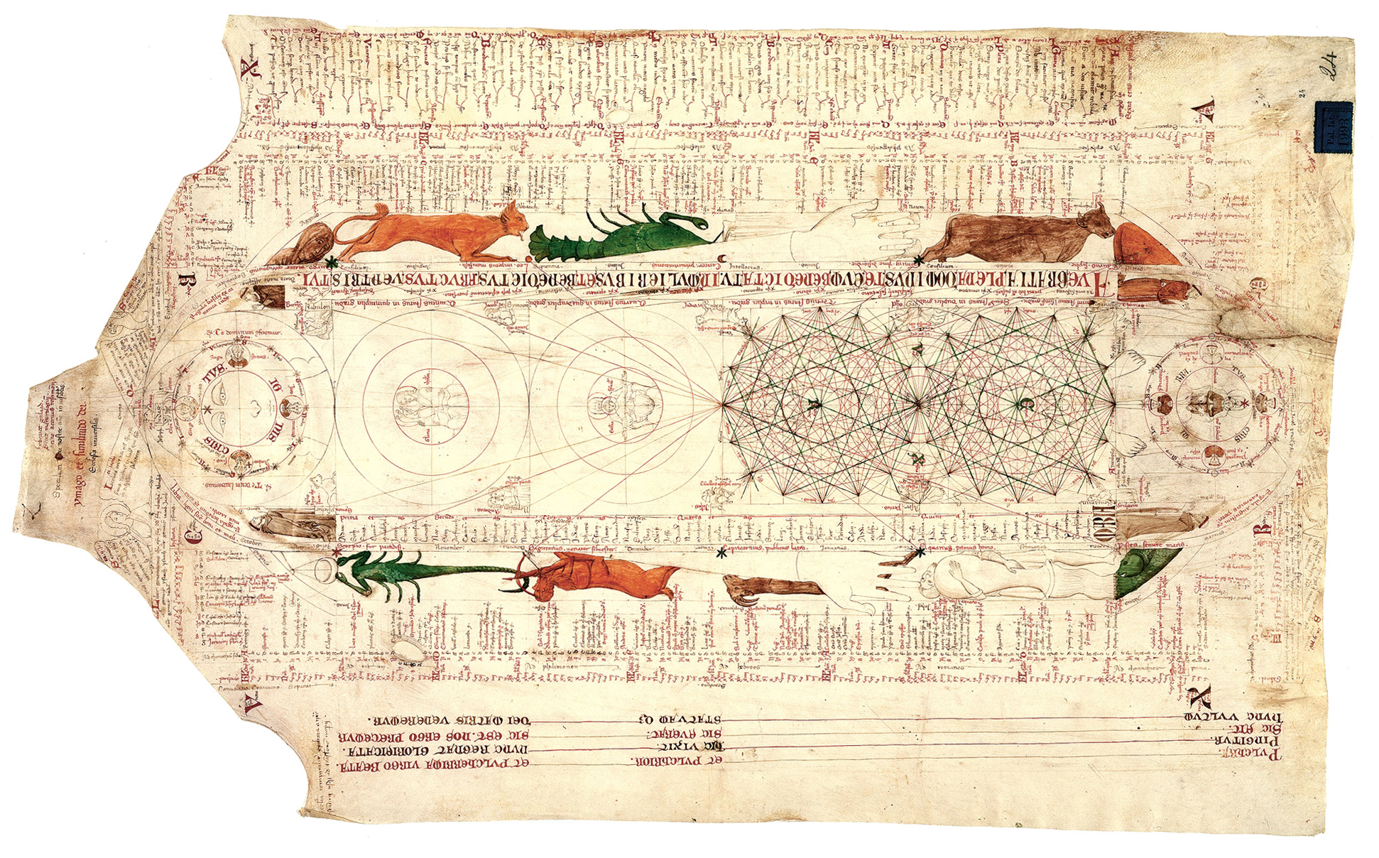 Diagram with zodiac symbols pen and parchment drawing in the exhibition images diagram with zodiac symbols ccuart Images